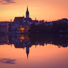 Picture - Sunset over the medieval town of Jindrichuv Hradec.