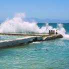 Picture - Wave crashing at Kalk Bay.