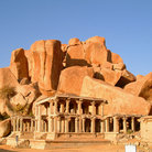 Picture - Temple ruin with boulders at Hampi.