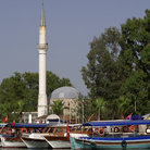 Picture - Boats and tower in Dalyan.