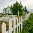 Picture - Fence and Foliage, Russian Orthodox Church, Ninilchik.