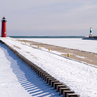 Picture - A winter day in Kenosha with several lighthouse on the shoreline.