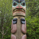 Picture - Alaskan Totem Pole at Saxman Nature Village in Ketchikan.