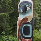 Picture - Beaked Totem Pole at Saxman Nature Village.