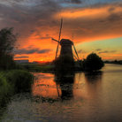 Picture - Sunset over the water at Kinderdijk.