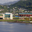 Picture - The ocean front and the cricket stadium in Kingstown.