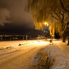 Picture - A light snowfall on Kitsilano Beach in Vancouver.