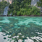 Picture - Turquoise green clear water in Pileh Bay, Phi Phi Island.