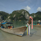 Picture - A longboat on the island of Koh Phi Phi.