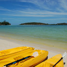 Picture - Kayaks on a beach on Koh Samui.