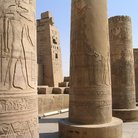 Picture - The Carved and painted reliefs on columns at the Temple of Sobek and Horus at Kom Ombo.