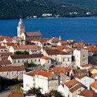 Picture - An aerial view over the medieval town of Korcula.