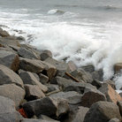 Picture - Waves crashing against the rocks at Fort Fisher, North Carolina.