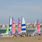 Picture - Sailboats on the beach at La Baule.
