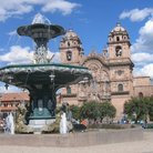 Picture - Plaza de Armas triton fountain & La Compana church, Cusco.