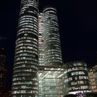 Picture - The highrises of La Defense seen at night in Paris.