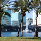 Picture - View across Lake Eola to the high-rise buildings in Orlando.