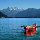 Picture - Rowboat on Lake Geneva.