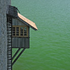 Picture - A balcony on a medieval castle overlooking Lake Geneva.