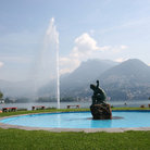Picture - Wading pool and fountain in front of Lugano.