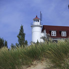 Picture - Point Betsie Lighthouse on Lake Michigan.