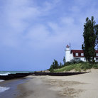 Picture - The beach and Point Betsie Lighthouse, Lake Michigan.