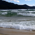 Picture - Waves crashing on Sand Harbor, Lake Tahoe.