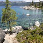 Picture - Kayaks in Sand Harbor, Lake Tahoe.