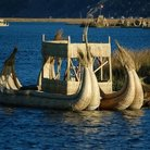 Picture - Reed boats on Lake Titicaca.