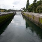 Picture - View of the Hiram M. Chittenden Locks in Seattle, part of the Lake Washington Ship Canal.