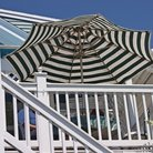 Picture - Umbrella on a deck at Lake Winnipesaukee.