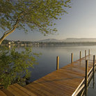 Picture - Dock on a calm morning at Lake Winnipesaukee.