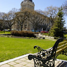Picture - Bench in front of Manitoba Legislature, Winnipeg.