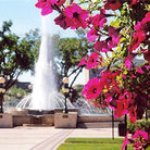 Picture - Fountain & flowers in front of Manitoba Legislative Building in Winnipeg.