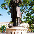 Picture - A statue of Louis Riel near Manitoba Legislative Building in Winnipeg.
