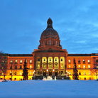 Picture - A night view of the Legislature Building in Edmonton.