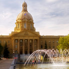 Picture - A fountain in front of the Legislature Building in Edmonton.