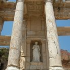 Picture - Statue and columns at the Celcus Library in Ephesus.