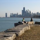 Picture - View of the city skyline from Lincoln Park in Chicago.