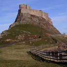 Picture - The road to the Lindisfarne Castle.