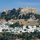 Picture - View of the Acropolis at Lindos.