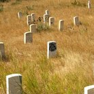 Picture - Grave markers at the Little Bighorn Battlefield.