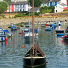 Picture - Boats moored off Aberaeron.