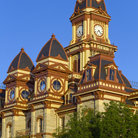 Picture - The ornate Caldwell County Courthouse and clock tower in Lockhart.