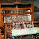 Picture - Weaving loom on display at Log Cabin Village in Fort Worth, Texas.