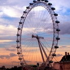 Picture - London Eye at sunset in London.