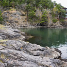 Picture - Emerald water cove and coastline on Lopez Island in Washington.