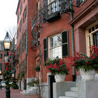 Picture - Old buildings off Louisburg Square in Boston.