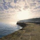Picture - The sea wall at Lyme Regis.