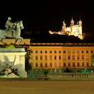 Picture - Louis XIV Statue in Place Bellecour & Notre Dame de Fourviere in Lyon.